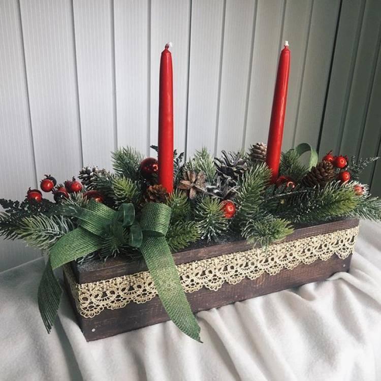 Новогодний декор своими руками. Венок из пробок, композиция со свечами, ваза с букетом их шишек - выбирать вам 6