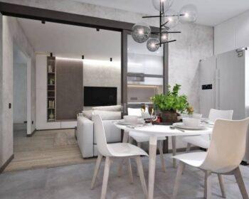 Дизайн кухни студии. Оптимальная планировка и повышение функциональности для всей семьи. превью